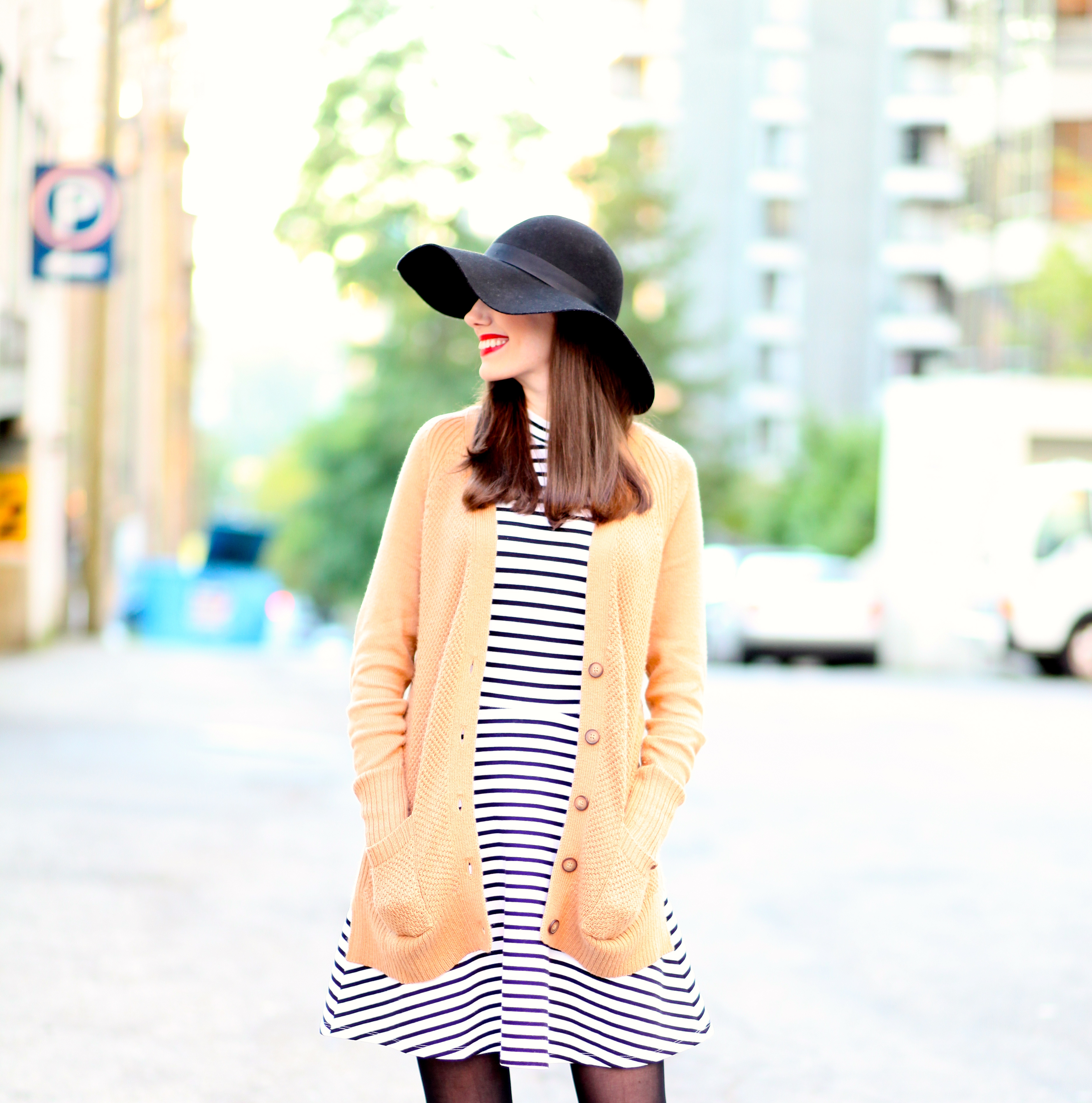 e1ed41f20b5 Cardigan — Old Navy Hat — Topshop Boots — Vince Camuto (similar here)  Tights — H M Lipstick — Majella by NARS